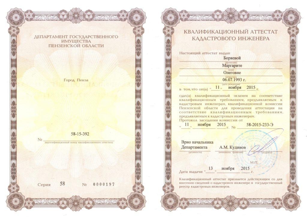 Аттестат Боряева М.О