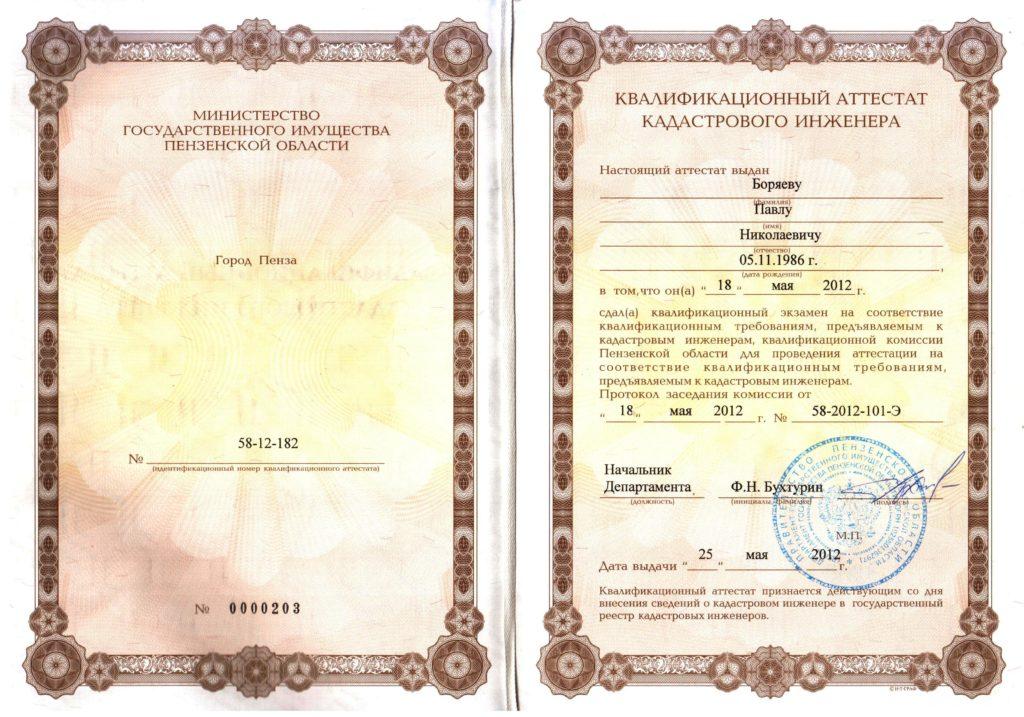 Аттестат Боряев П.Н.