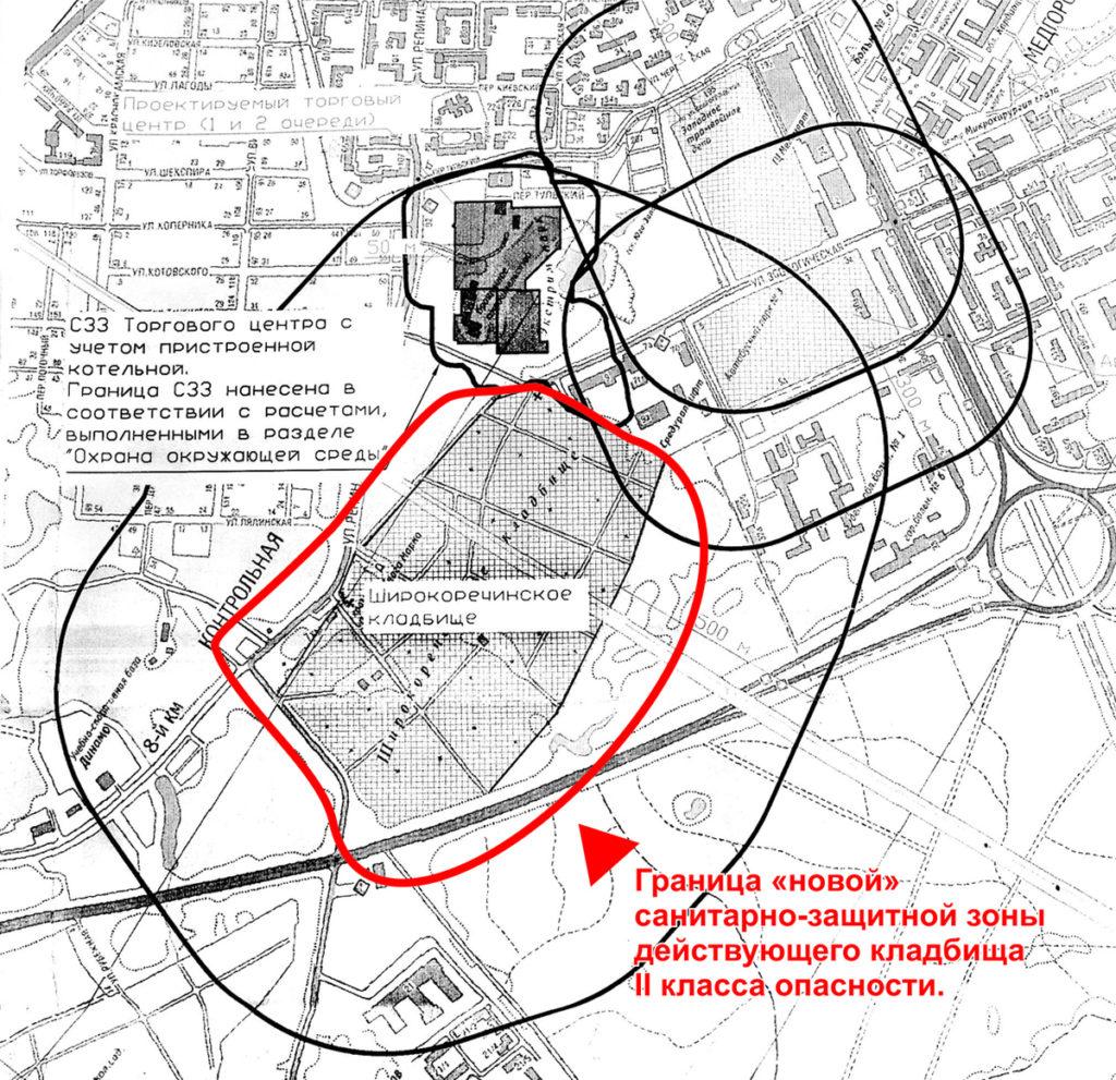 Границы санитарно-защитной зоны кладбища